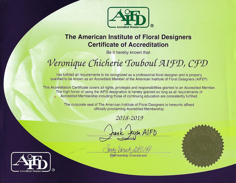 The American Institute of Floral Designers Certificate of Accreditation